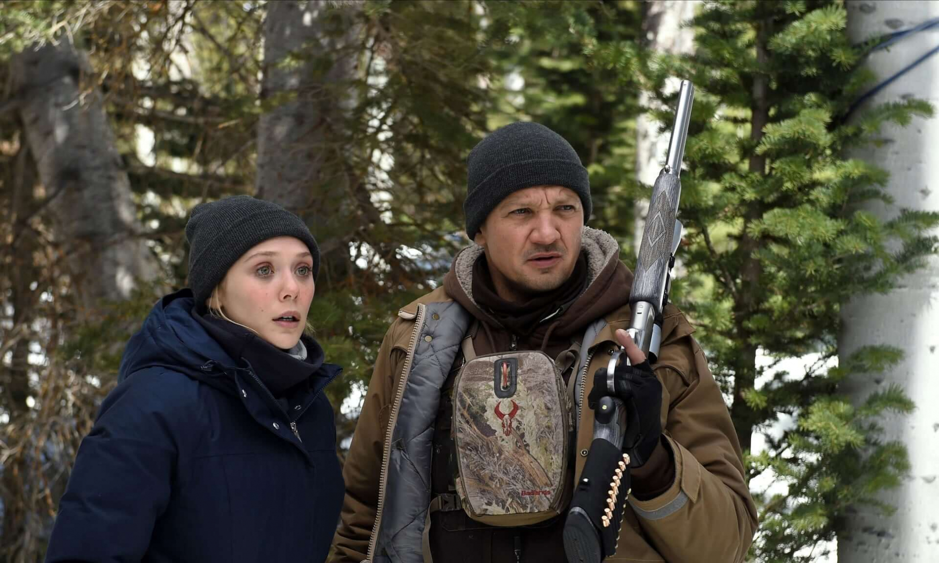 Elizabeth Olson and Jeremy Renner in Wind River.