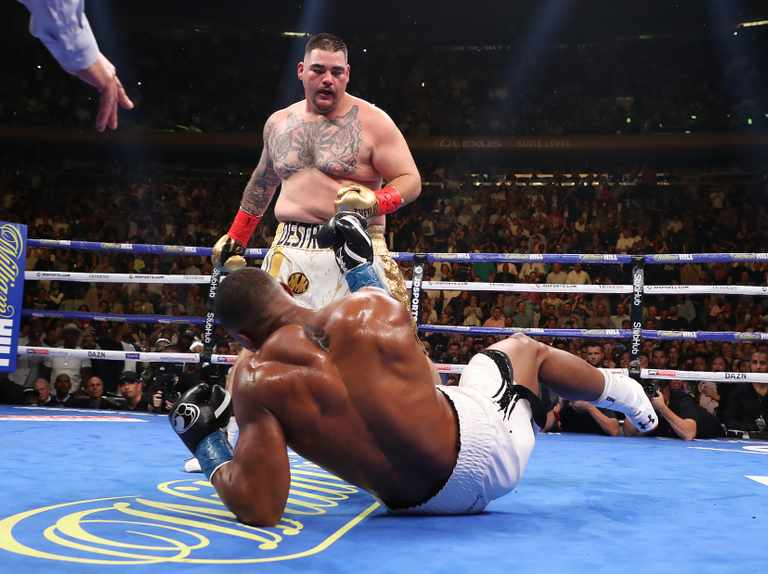 Joshua knocked down by Andy Ruiz Jr